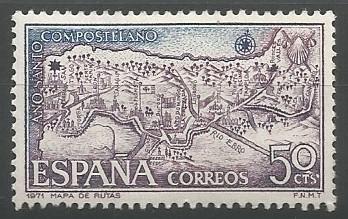 mapa de las rutas jacobeas a través de España