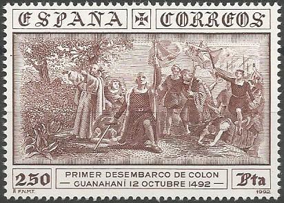 primer desembarco de Colón: Guanahaní, 12 de octubre de 1492