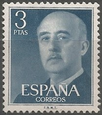 Un retrato suyo de Franco tomado en 1952, fue empleado para la proyección civil, no castrense, del generalísimo, sirviendo para ilustrar a partir de 1955, la serie básica de sellos postales que prolongaría su vigencia hasta la muerte del dictador en 1975. (María Rosón Villena, 2014, 267)