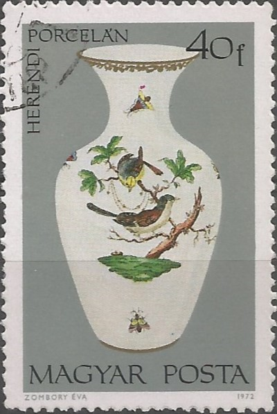 Postage stamp designer: Rothschild Birds Herend porcelain vase. This pattern takes its name from the wealthy baronial family, whose several branches regularly ordered services in the Herend Manufactury from the 1860s onwards.