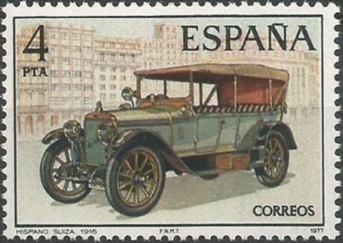 Hispano Suiza de 1916, carrozado estilo torpedo o doble faetón con capota plegable