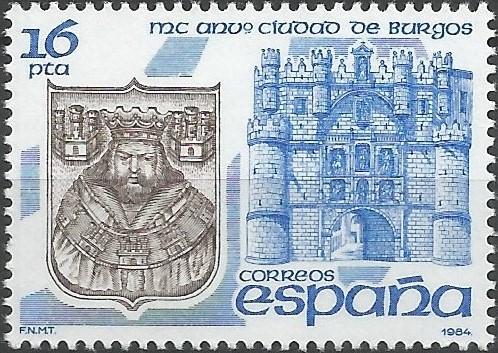 MC aniversario de la fundación de Burgos, según la tradición fechada en 884: escudo de la ciudad grabado en la catedral y torre de Santa María