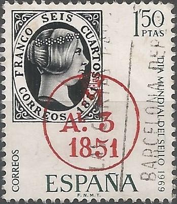 Sello de 6 cuartos de 1851 con fechador de llegada a Madrid en rojo. Los circulares empezaron a emplearse desde el 22 de abril de 1825.