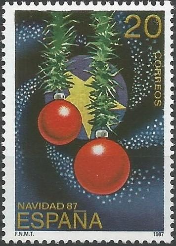 Navidad con los colores de España y Europa: sobre fondo azul, una estrella amarilla de cinco puntas y dos bolas de árbol navideño en suspensión (