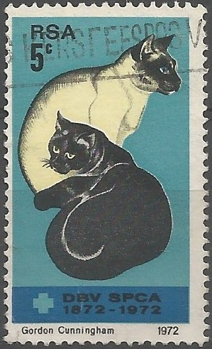 centenaire des sociétés pour la prévention de la cruauté envers les animaux: chats siamois et noir