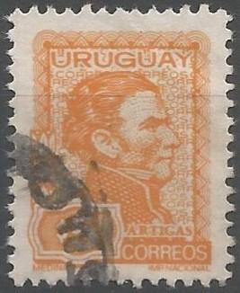 segunda emisión de la serie permanente con el perfil del general Artigas, impreso por la Imprenta Nacional en Montevideo, mediante sistema fotolitográfico en plancha de cien sellos sobre papel mediano