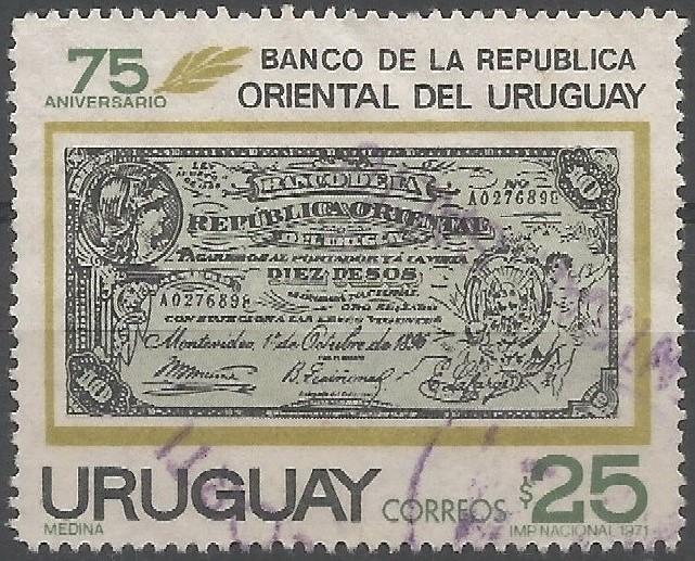 firma de Bernabé Quiñones, delegado del gobierno en el Banco de la República Oriental del Uruguay (abajo en el centro): primera emisión de billetes (1/10/1896)