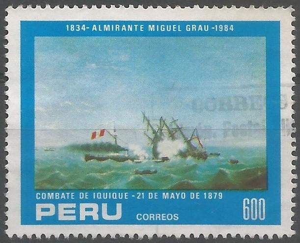 El combate naval de Iquique tuvo lugar el 21 de mayo de 1879, en el marco de la guerra del Pacífico, enfrentando al monitor peruano Huáscar, bajo el mando del capitán Miguel Grau, y la corbeta chilena Esmeralda, bajo el del capitán Arturo Prat, y resultando en el hundimiento de la segunda, con la muerte de 160 marinos, y el consiguiente levantamiento del bloqueo del puerto peruano de Iquique.