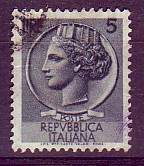 The image of the Arethusa nymph, named Syracusana, that marked the Italian definitive stamps for about thirty years, was taken from a tetradrachm minted in Syracuse at the end of the IV century BCE, from a model created by the artist Euainetos. (